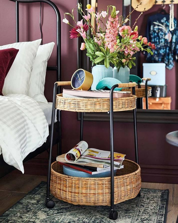 плетеный прикроватный столик на колесах икеа