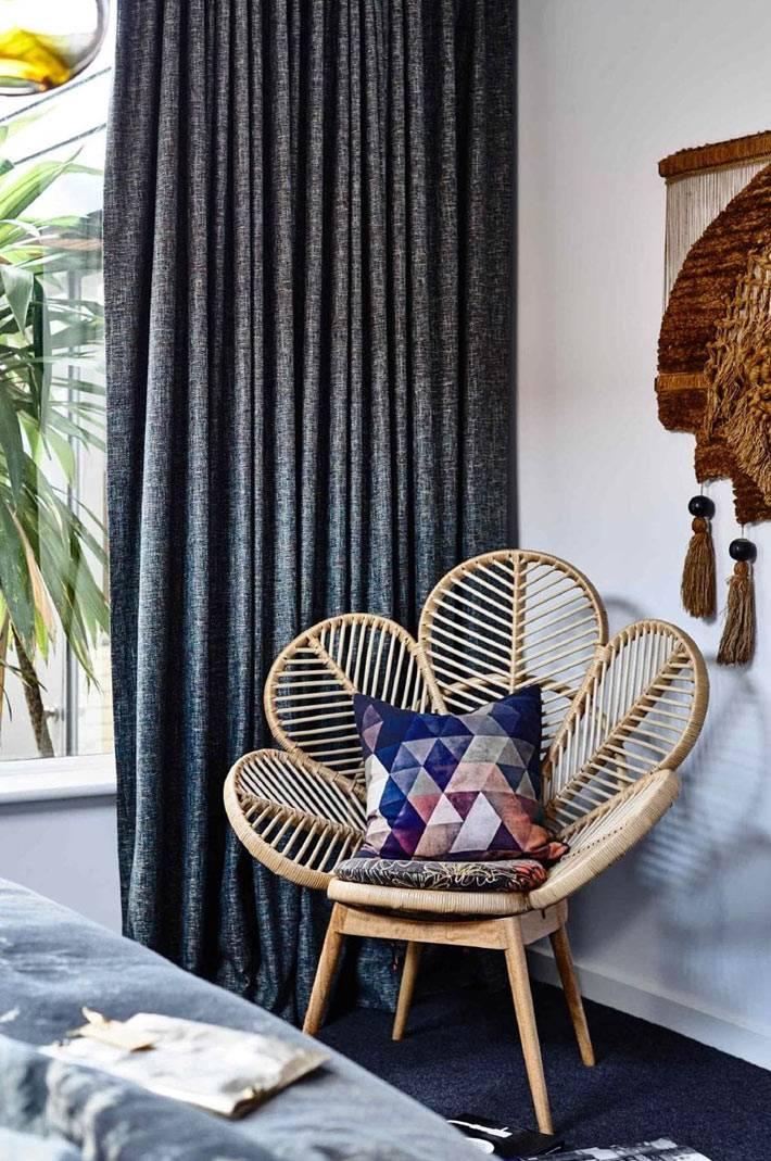 красивое кресло в форме цветка из ротанга для спальни