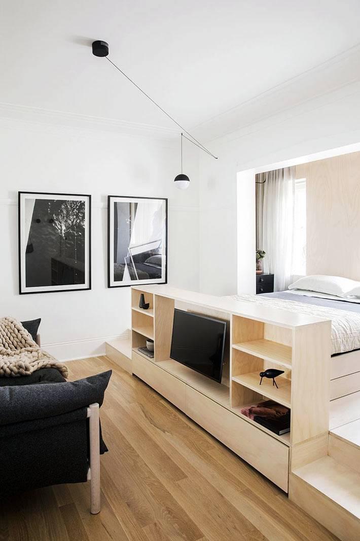 Идея расположения мебели в однокомнатной квартире