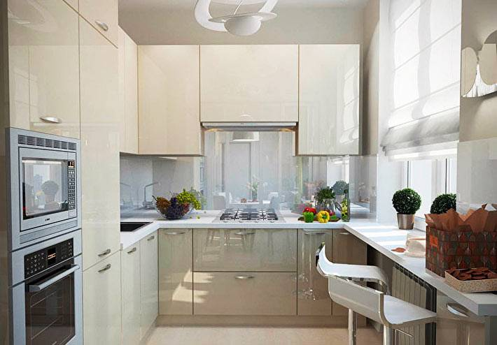 Как сделать интерьер кухни удобным и красивым, если она очень маленькая