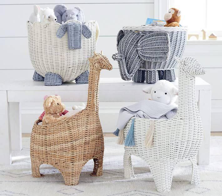 плетеные корзины в форме слона, жирафа, кролика