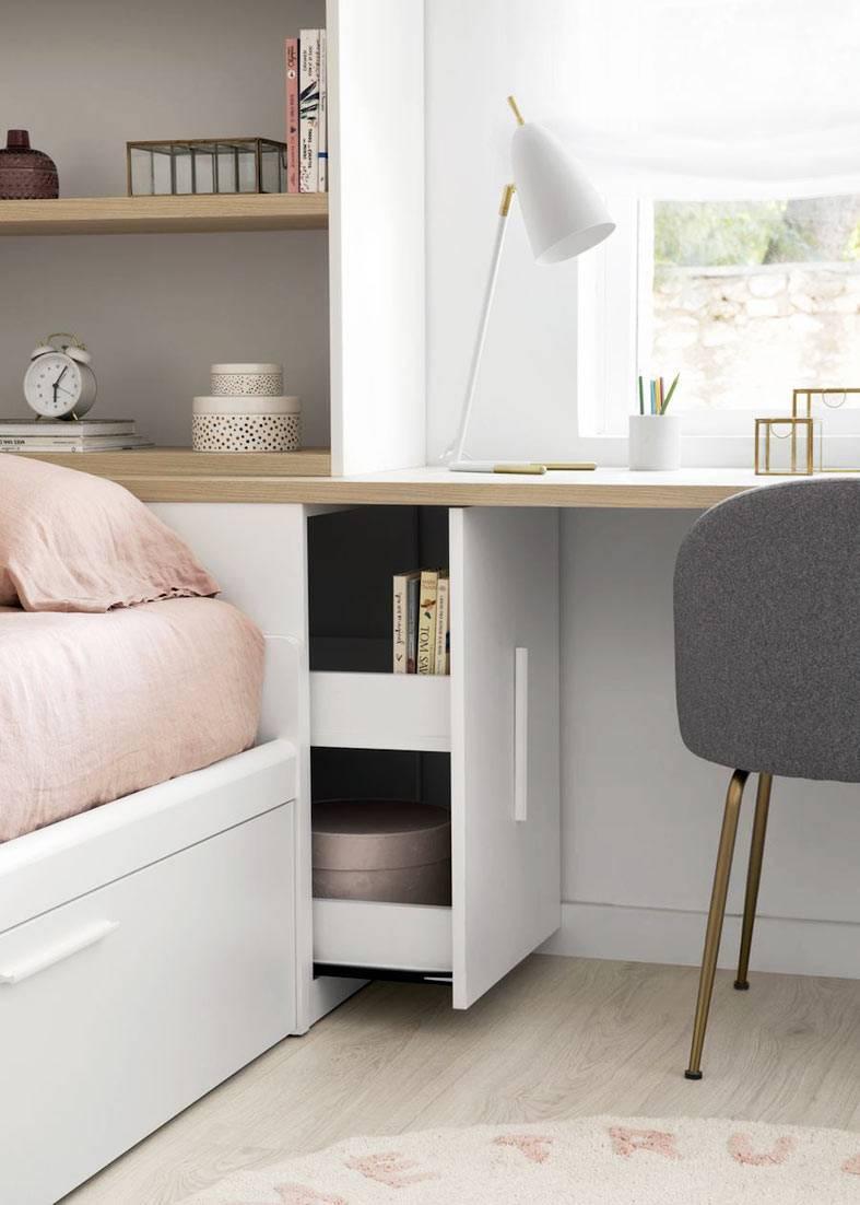 встроенный шкаф с ящиком за кроватью