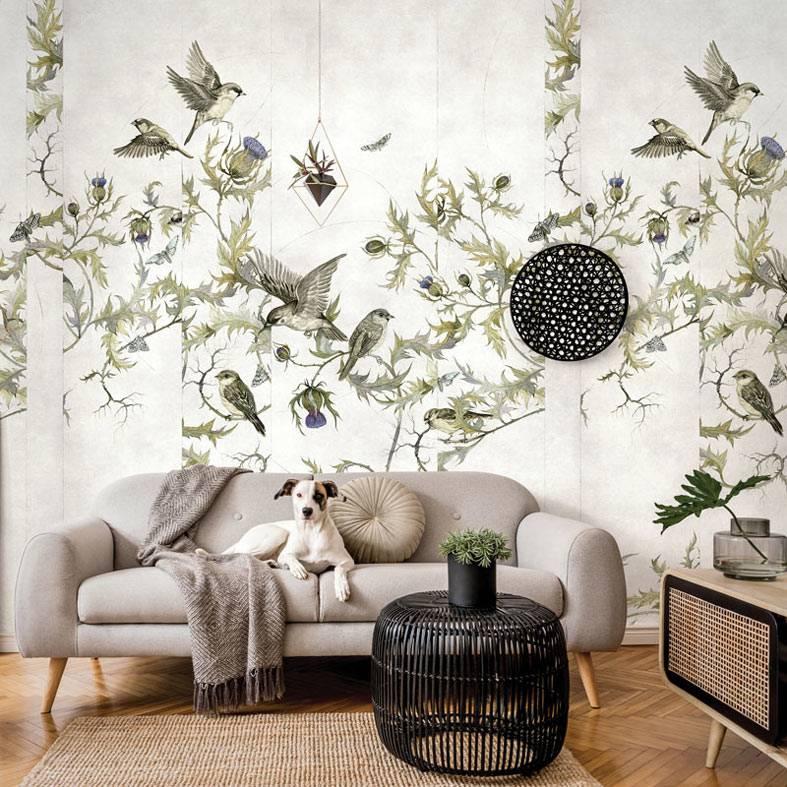 роспись на стене - цветы и птицы фото