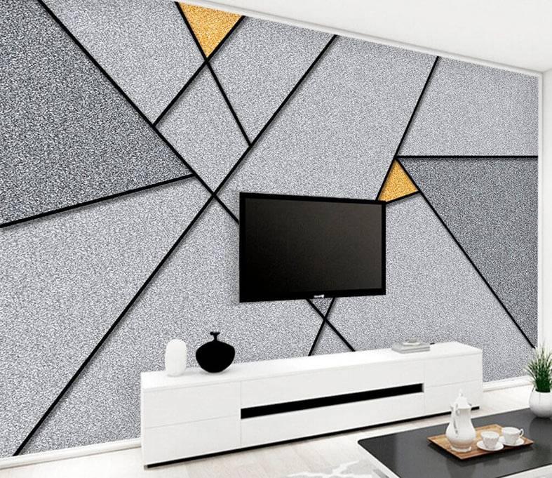 геометрический рисунок на стене с помощью трафарета