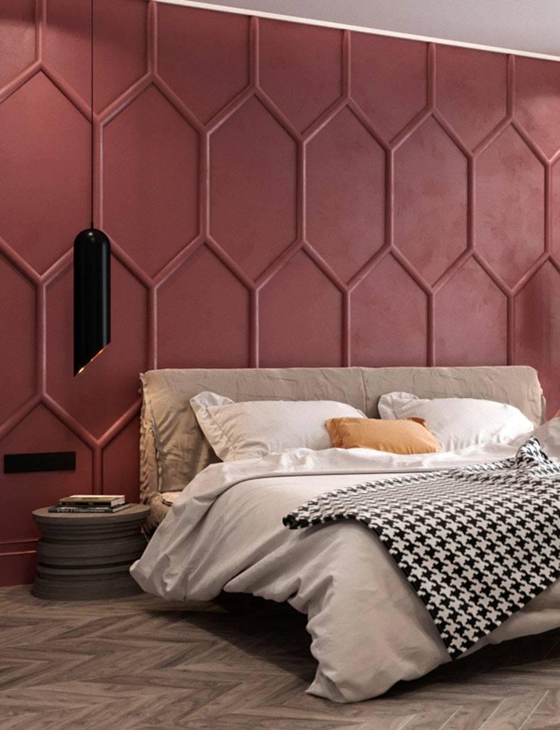 терракотовая стена в спальне в геометрическим узором