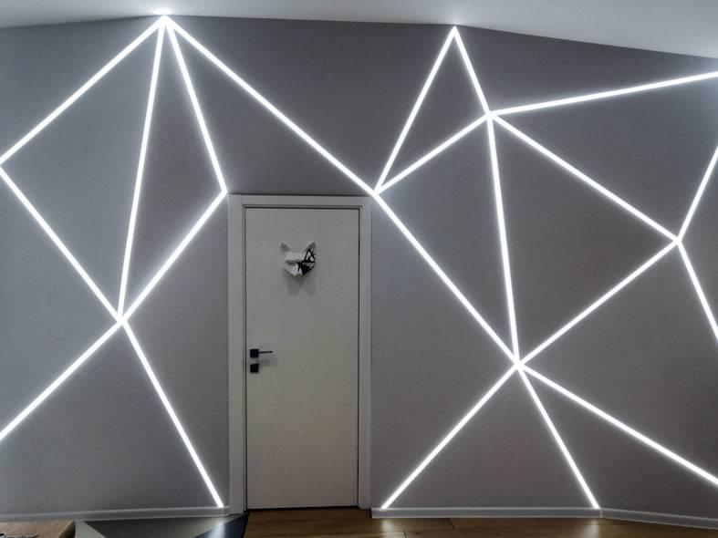 как сделать декор на стене светодиодной подсветкой