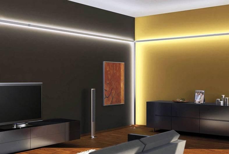 неоновая подсветка по периметру комнаты фото