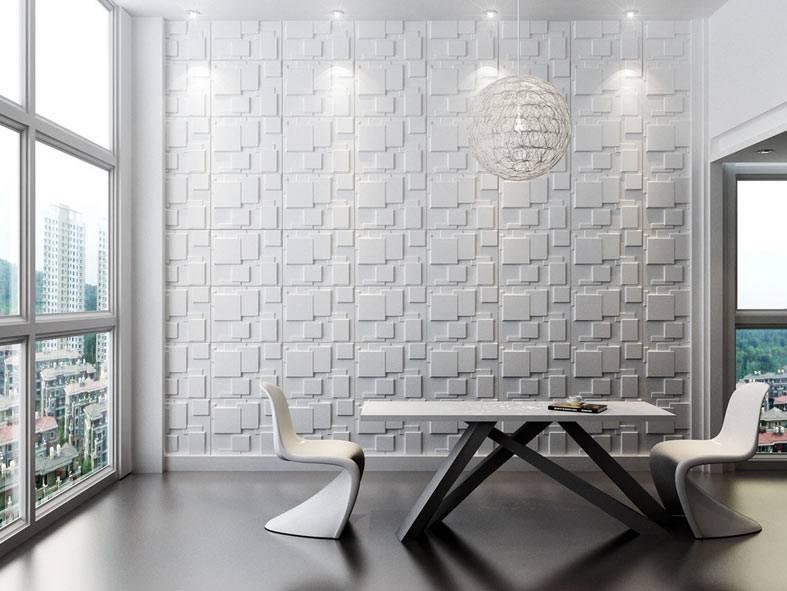 белая рельефная стена из гипса в столовой