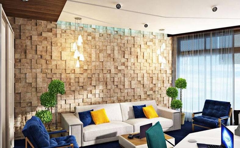 маленькие плитки-мозаики из гипса украшают гостиную