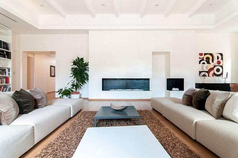 стиль минимализм в обстановке современной гостиной