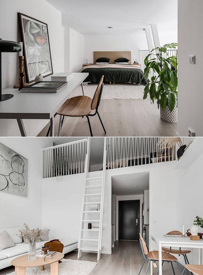 полноценная спальня с рабочим столом на втором ярусе