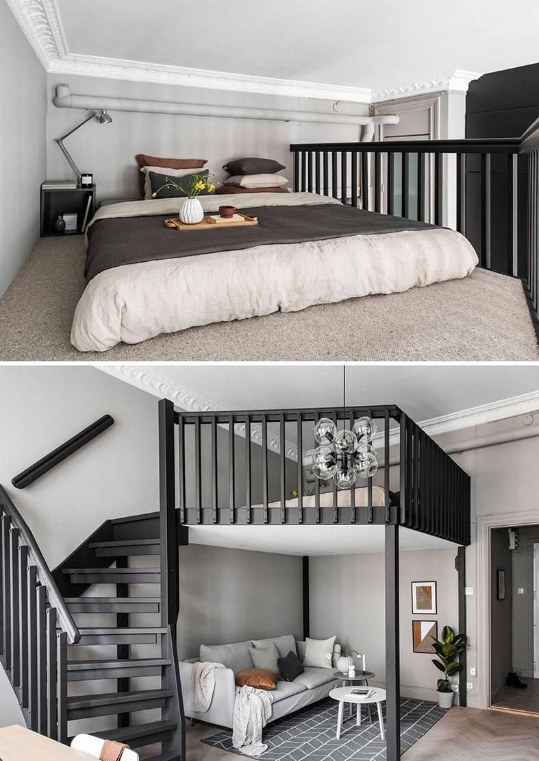 спальное место под потолком, черная деревянная лестница
