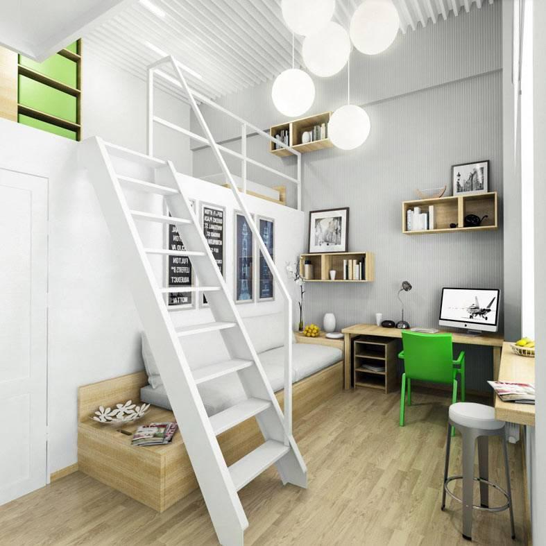 антресольный этаж в маленькой квартире в белом цвете