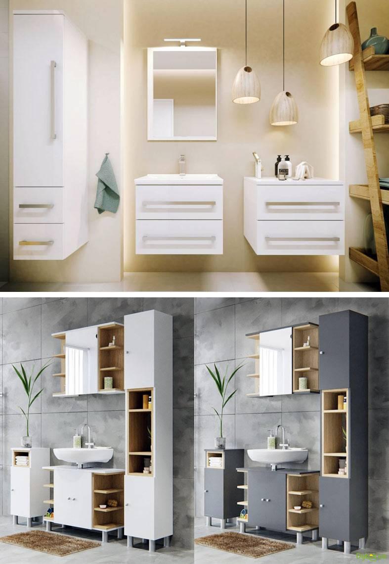подвесные тумбочки в ванной комнате фото