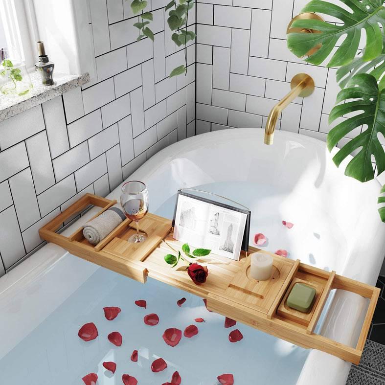 бамбуковая доска на ванную для бокала вина и книги