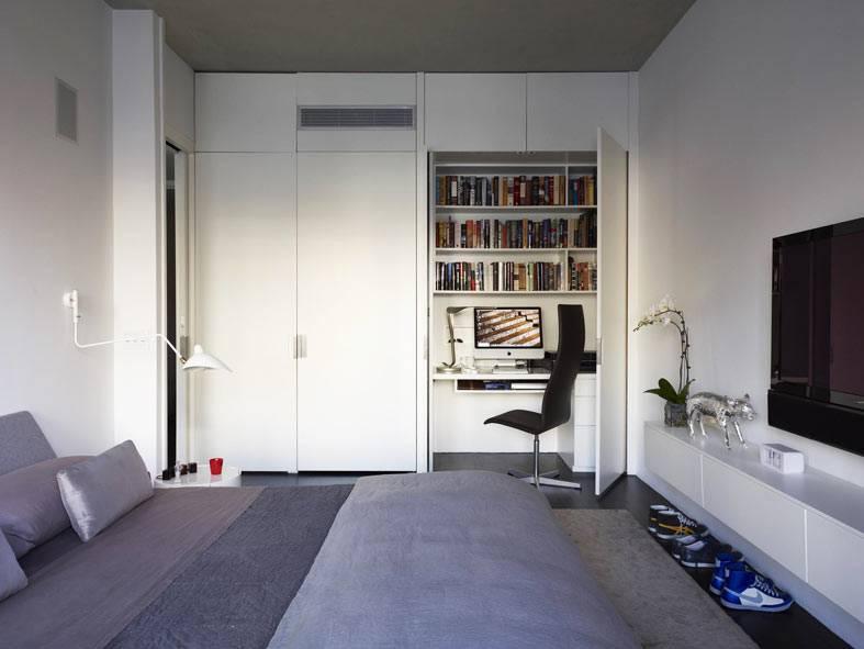 как спрятать рабочее место в шкафу спальни фото