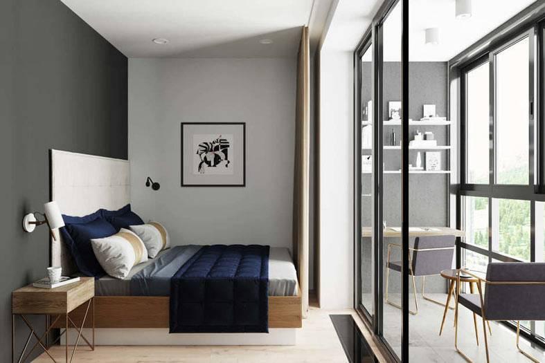 балкон, присоединенный к спальне как рабочий кабинет