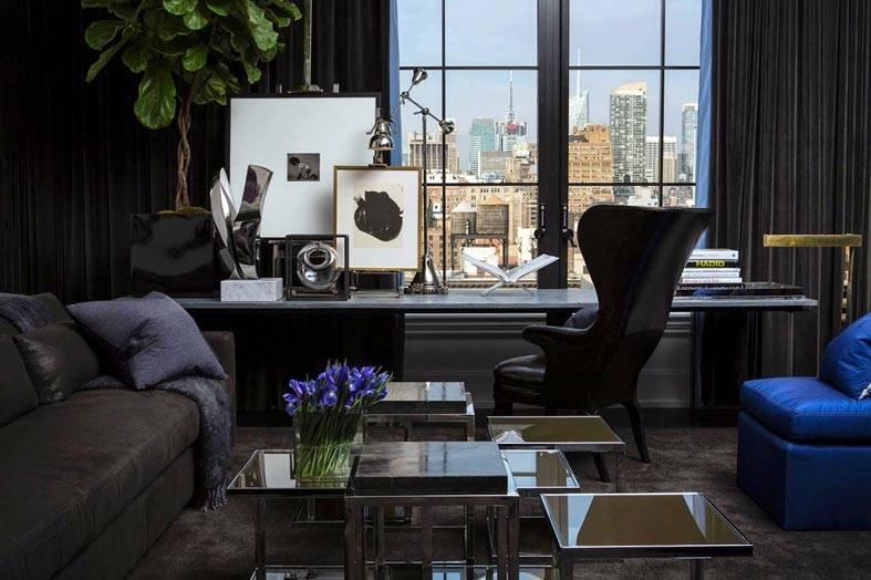 стильный современный интерьер с рабочим столом