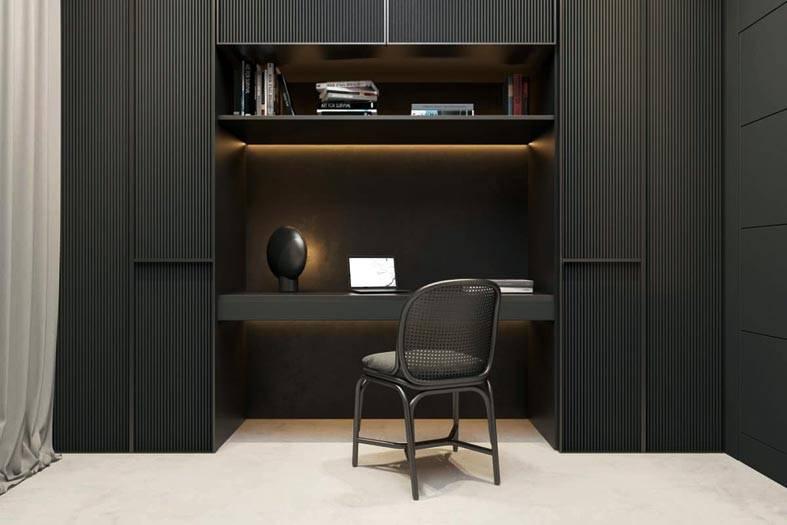 черная мебель с подсветкой над рабочим столом