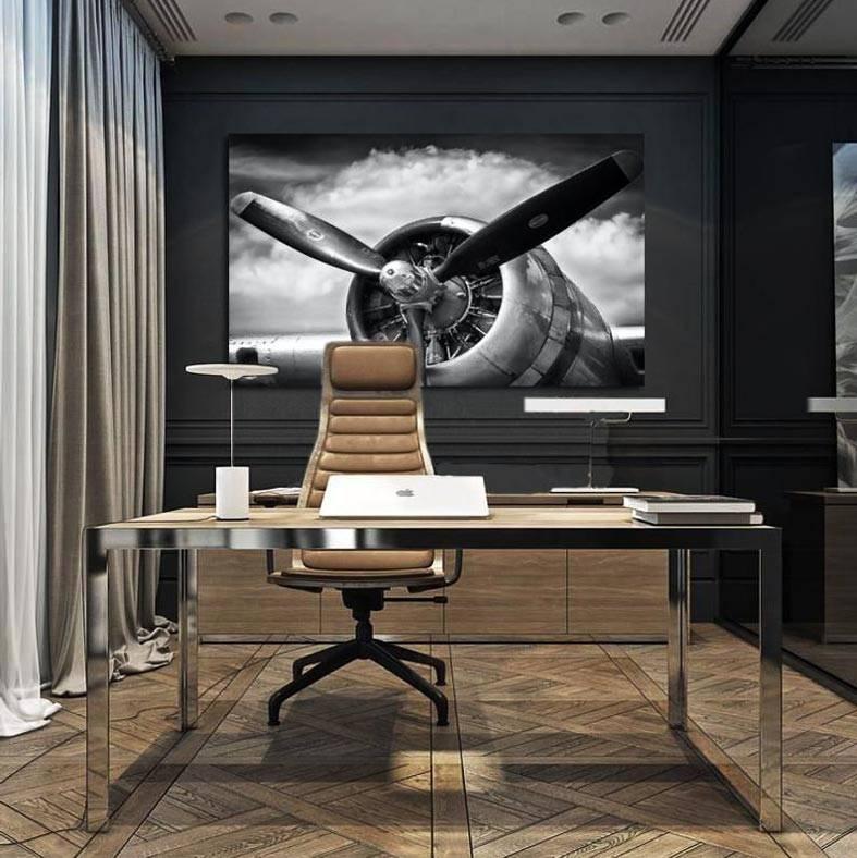 лаконичный мужской интерьер рабочго кабинета