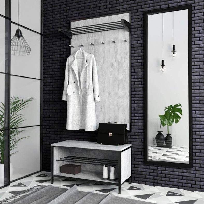черная кирпичная стена в прихожей фото