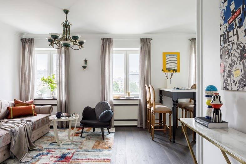 открытая гостиная в однокомнатной квартире