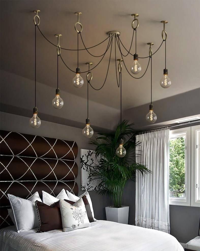 современный дизайн светильника из обычных лампочек