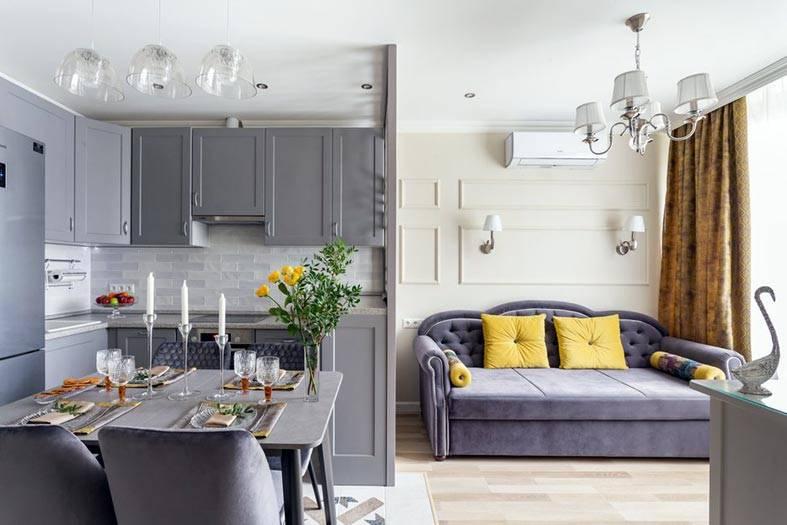 перегородка в квартире между кухней и гостиной