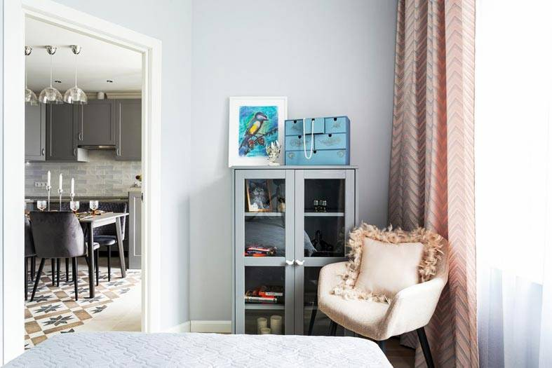 небольшая спальня в однокомнатной квартире фото