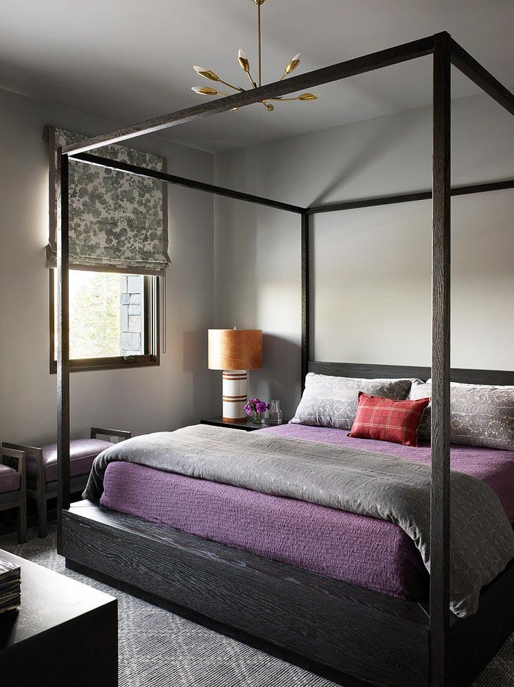 черный цвет конструкции кровати с балдахином фото
