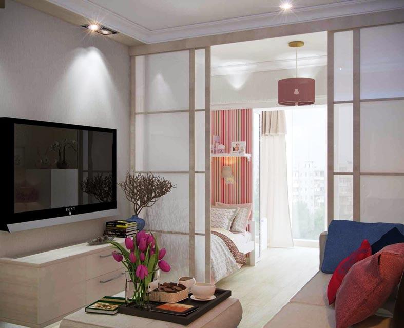 телевизор с большой диагональю в маленькой комнате
