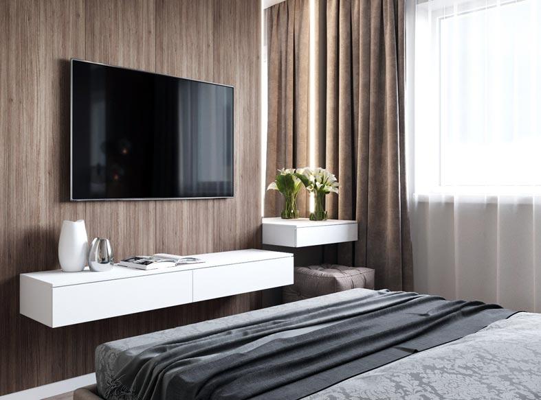 белая подвесная тумба-консоль под телевизором в спальне