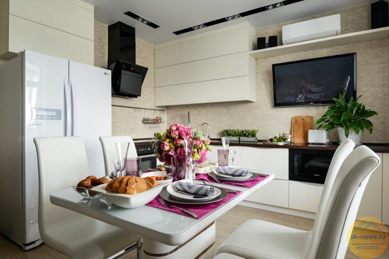 классная кухня с обеденным столом по центру интерьера