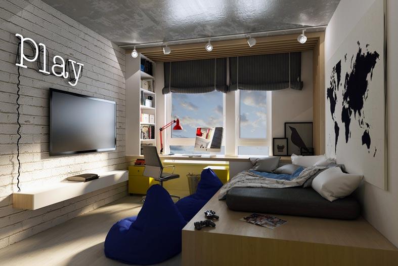 большой телевизор в комнате для подростка фото