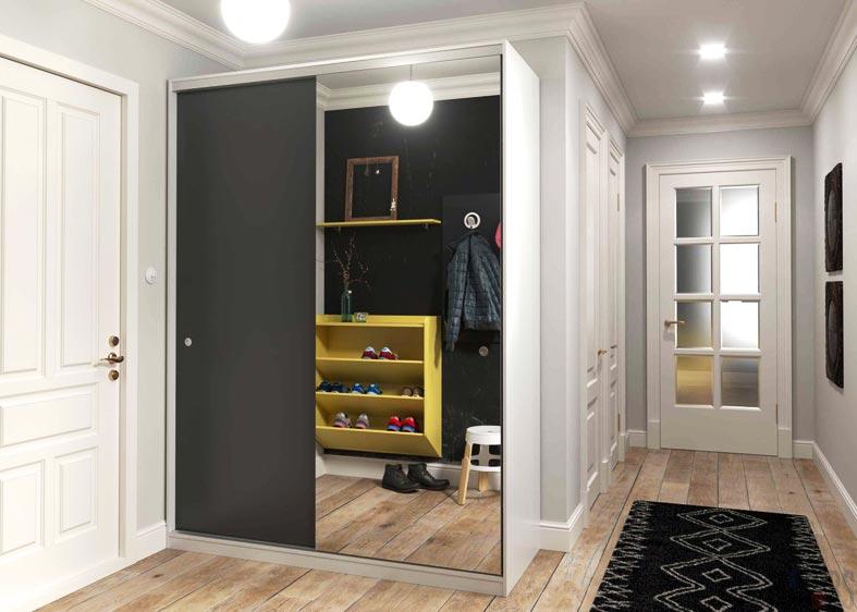 черный шкаф-купе с зеркалом и желтаяя полка для обуви