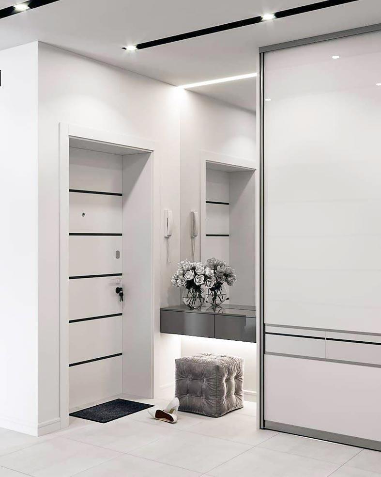 белое пространство и белая мебель в интерьере