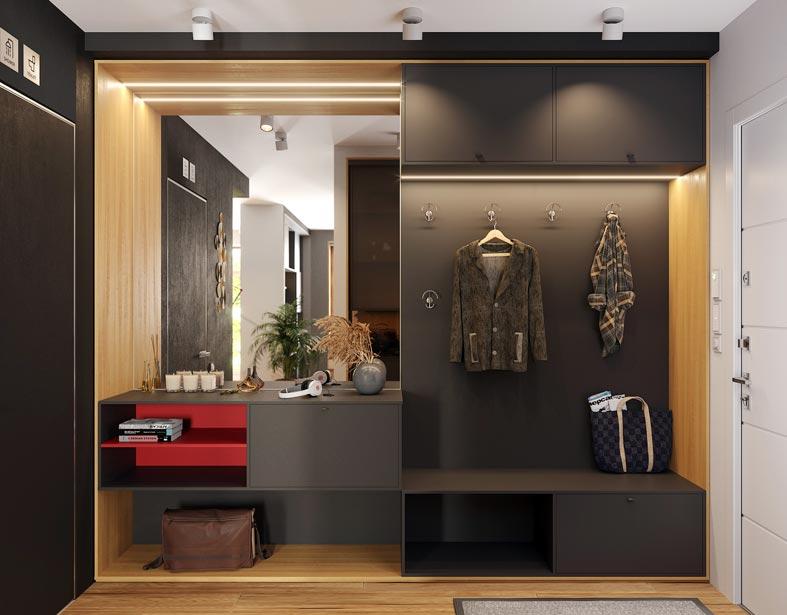 подсветка в шкафу для курток и возле зеркала фото