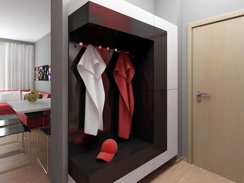 черно-белый современный шкаф в прихожую фото