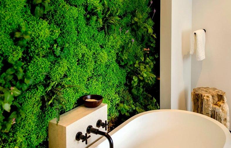 живая фитостена с мохом в интерьере ванной фото