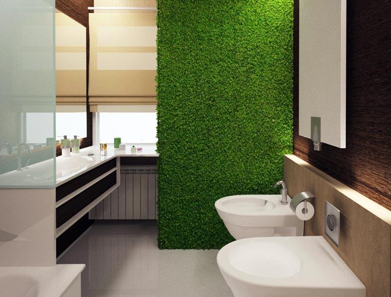 стабилизированный мох на акцентной стене в ванной комнате