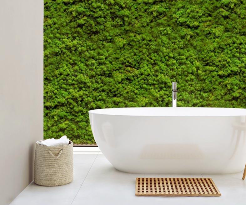 стаблизированный мох - идея для ванной комнаты