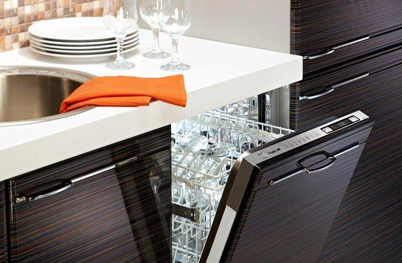 встроенная узкая посудомоечная машина под раковиной